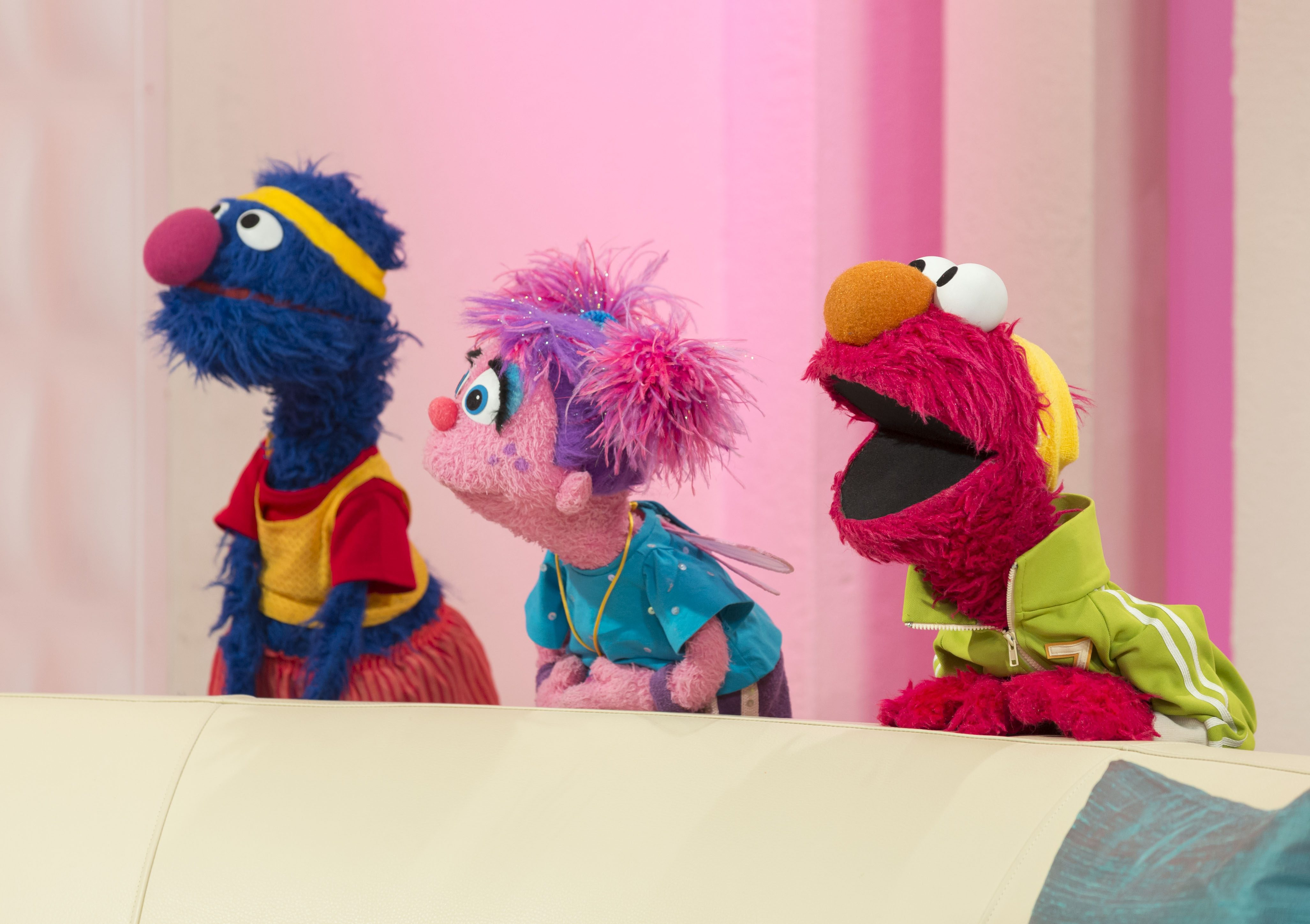 Editorial use only Mandatory Credit: Photo by Steve Meddle/Shutterstock (1814632y) Sesame Street's Elmo and his furry friends Abby Cadabby and Grover 'This Morning' TV Programme, London, Britain - 09 Aug 2012 Elmo and Friends Sesame Street's Elmo and his furry friends Abby Cadabby and Grover.