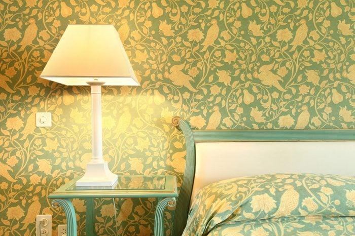 interior luxury apartment, comfortable bedroom, table lamp