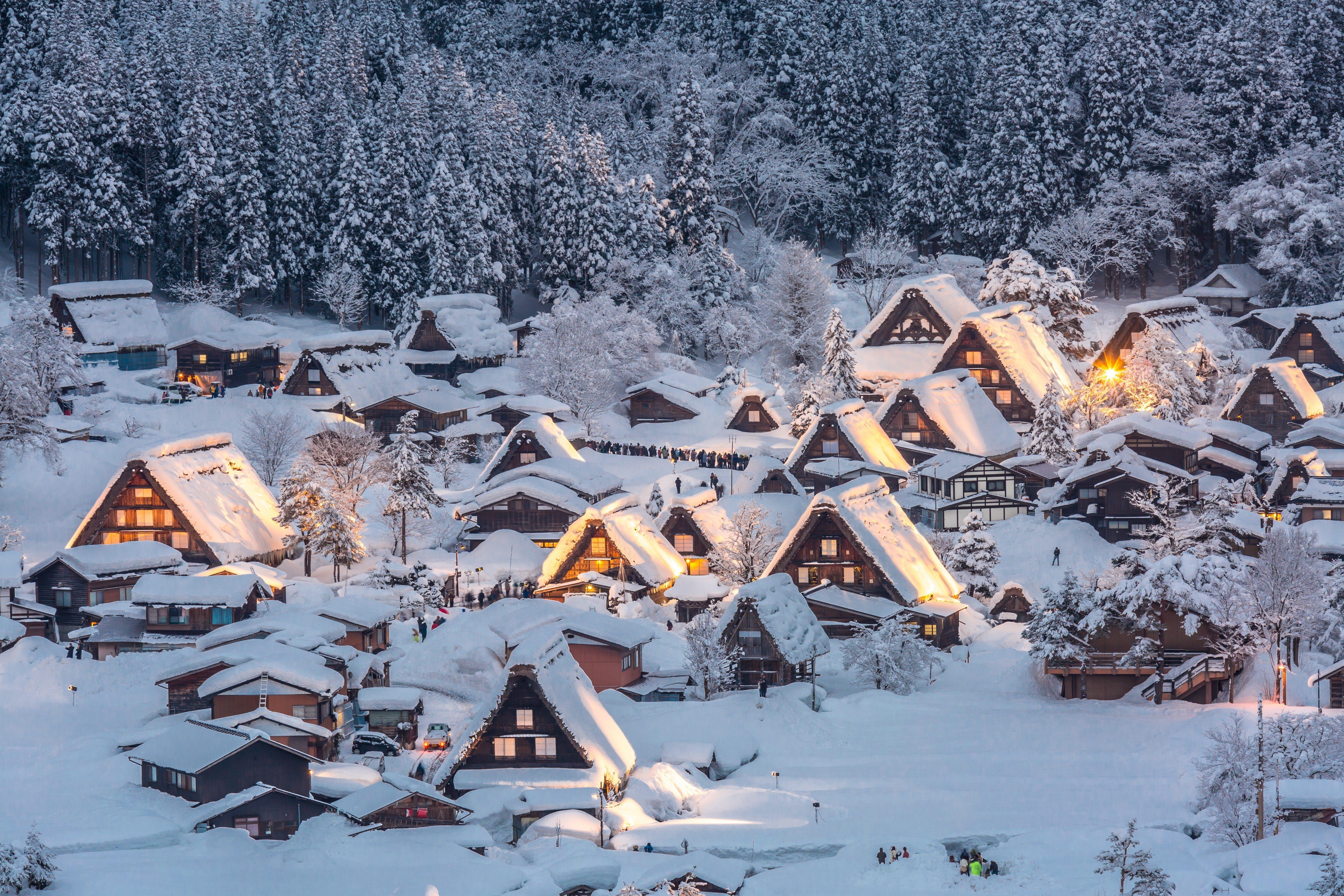 Shirakawago light-up with Snowfall Gifu Chubu Japan