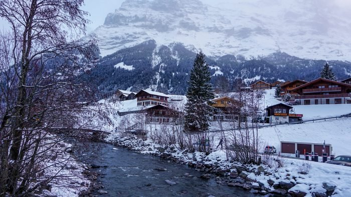 Snow-coated Grindelwald on the way to Jungfraujoch, Switzerland