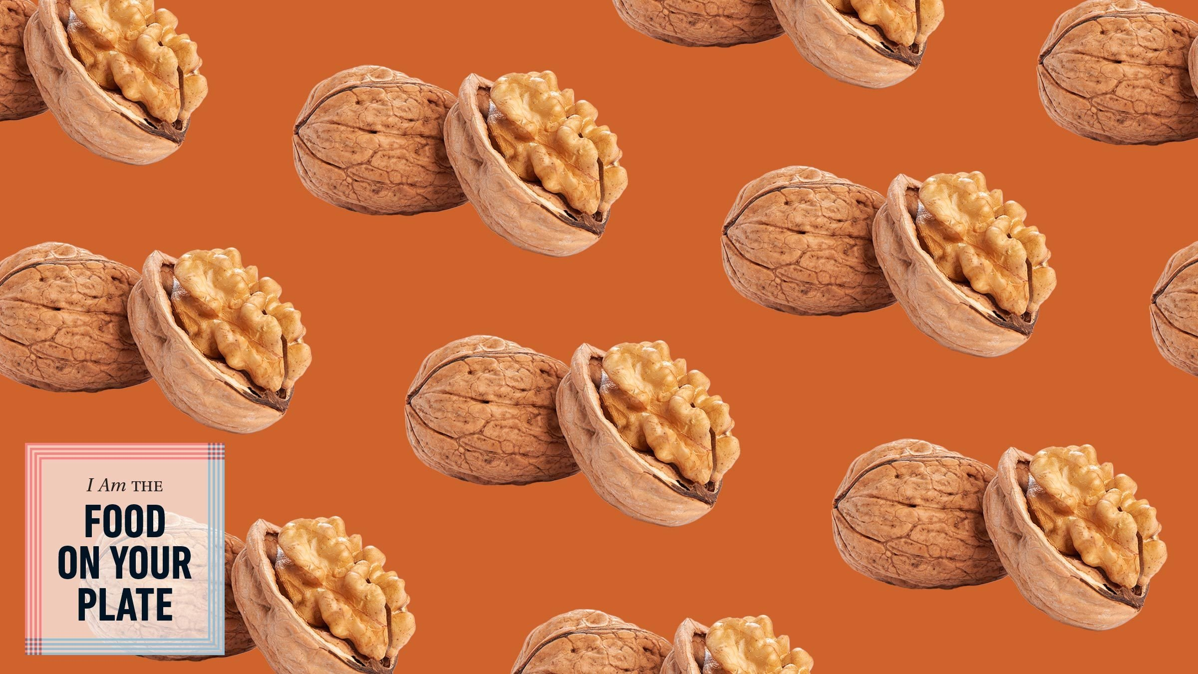 walnuts repeated in a pattern with the food on your plate logo