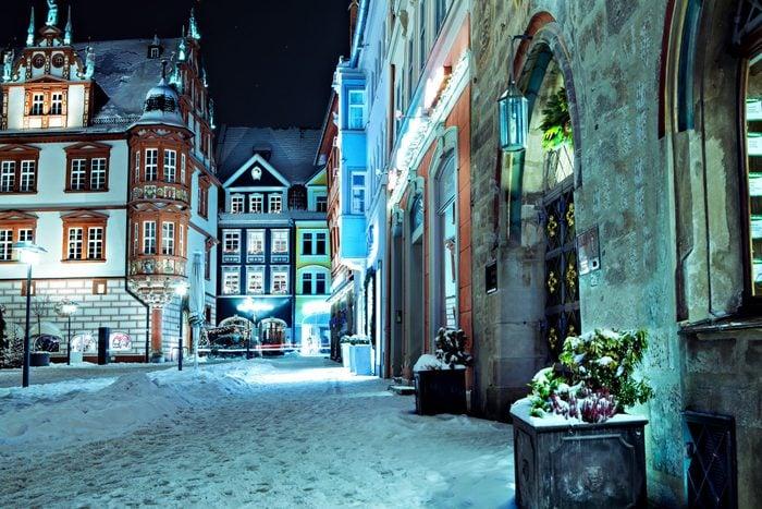 Night scenes of wintry Coburg in Bavaria, Germany