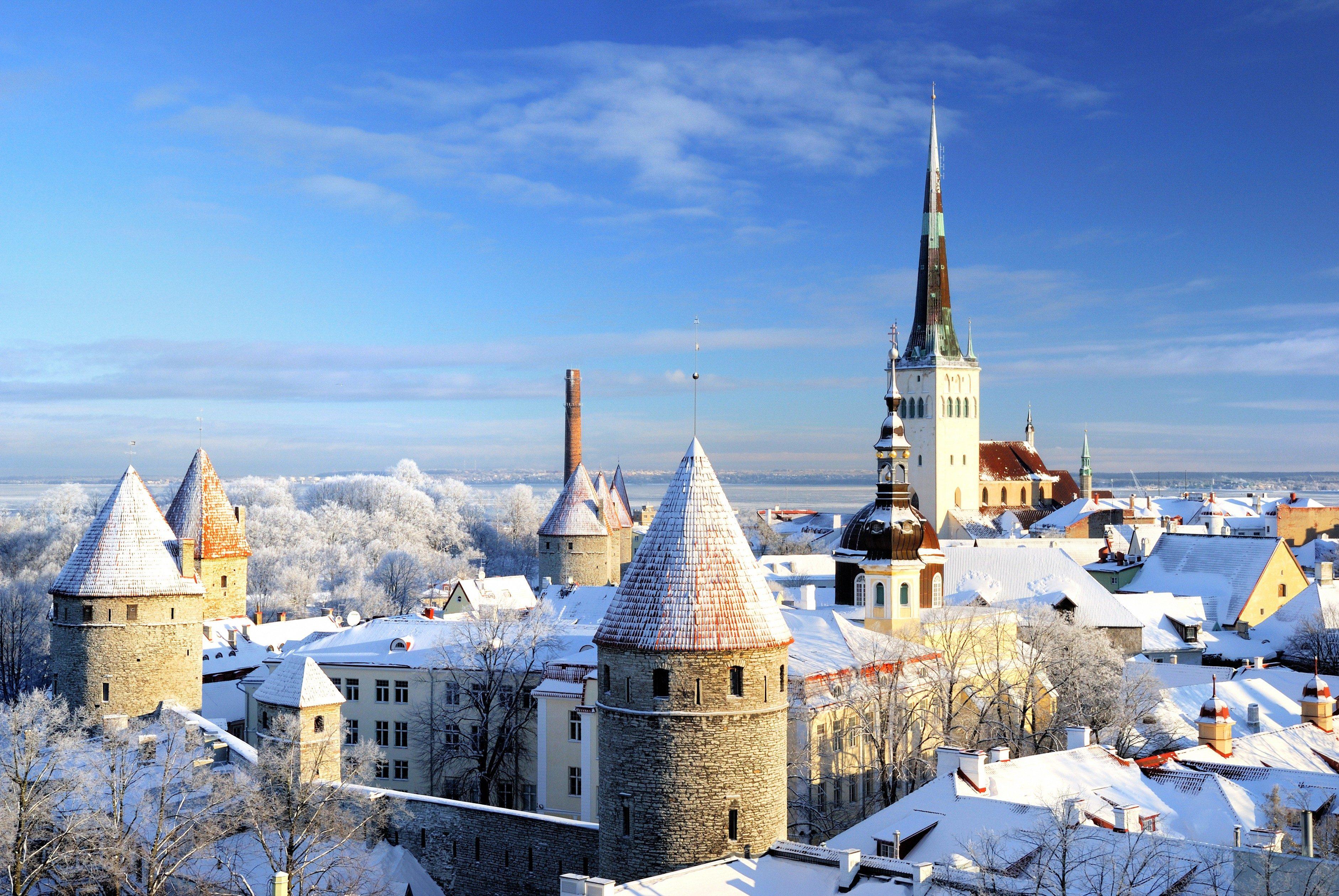Tallinn city panoramic winter landscape. Estonia.