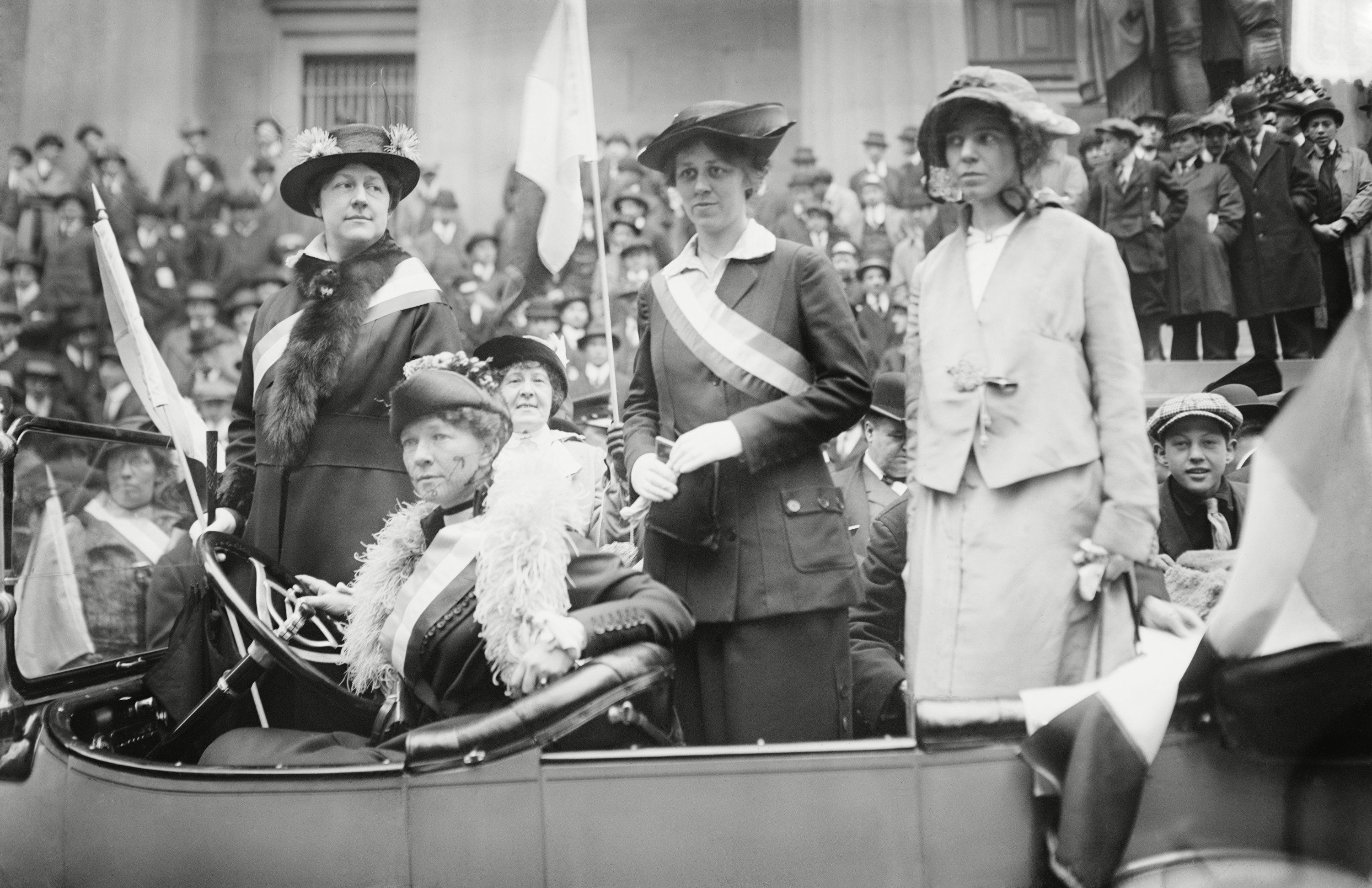 Mandatory Credit: Photo by Everett/Shutterstock (10278035a) Prominent womans suffrage advocates parade in an open car supporting the ratification of the 19th amendment granting women the right to vote in federal elections. Left to right: Mrs. W.L. Prendergast, Mrs. W.L. Colt, Doris Stevens, Alice Paul Historical Collection
