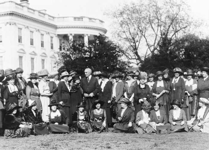 Mandatory Credit: Photo by Everett/Shutterstock (10278215a) National Womans Party members with President Harding on the lawn in front of the White House. The women ask the presidents aid in passing an Equal Rights Bill in the next Congress. The bill they proposed would give married women citizenship and equal rights of inheritance and contract. Historical Collection