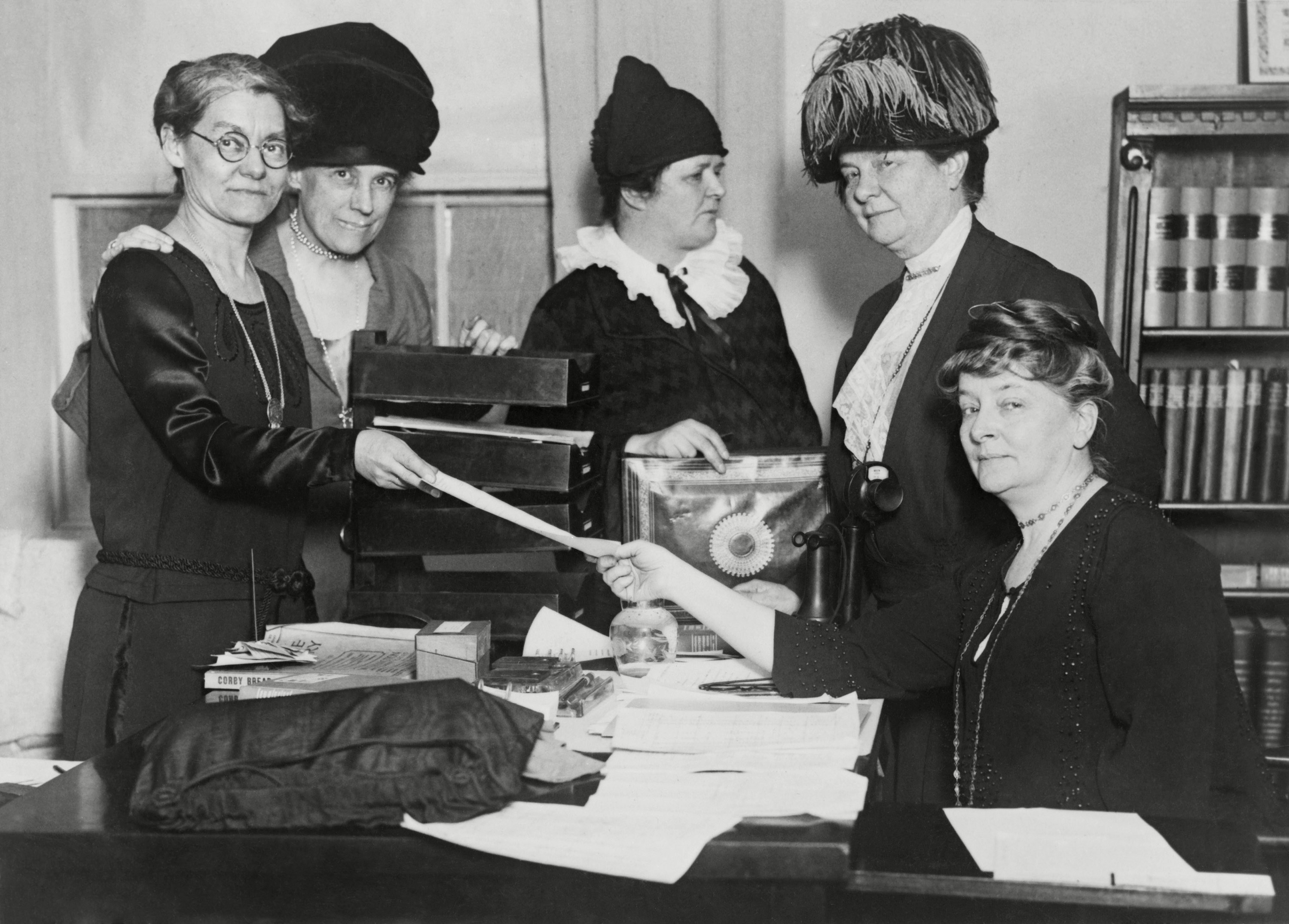 Mandatory Credit: Photo by Everett/Shutterstock (10283001a) Executive committee of the National League of Women Voters in 1924. L-R: Elizabeth Hauser, Katherine Ludington, Ruth Morgan, Belle Sherwin, and Maud Wood Park. Later renamed League of Women Voters, it was founded in 1920 by Carrie Chapman Catt to help newly enfranchised women exercise their responsibilities as voters. Historical Collection