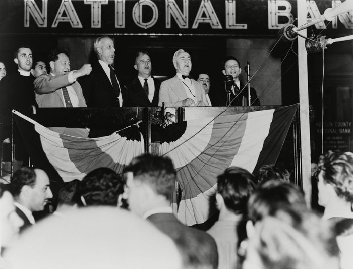 Mandatory Credit: Photo by Everett/Shutterstock (10289999a) ACLU leaders celebrate a labor victory in the Supreme Court case, Hague v. CIO of June 5, 1939. The Court held that Jersey City Mayor Frank Hagues ban on political meetings violated the First Amendment right to freedom of assembly. L-R: John Hutchinson, Arthur Garfield Hayes, Norman Thomas, George Hollinshead, and Archie Ball. Historical Collection
