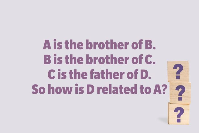 A is the brother of B. B is the brother of C. C is the father of D. So how is D related to A?