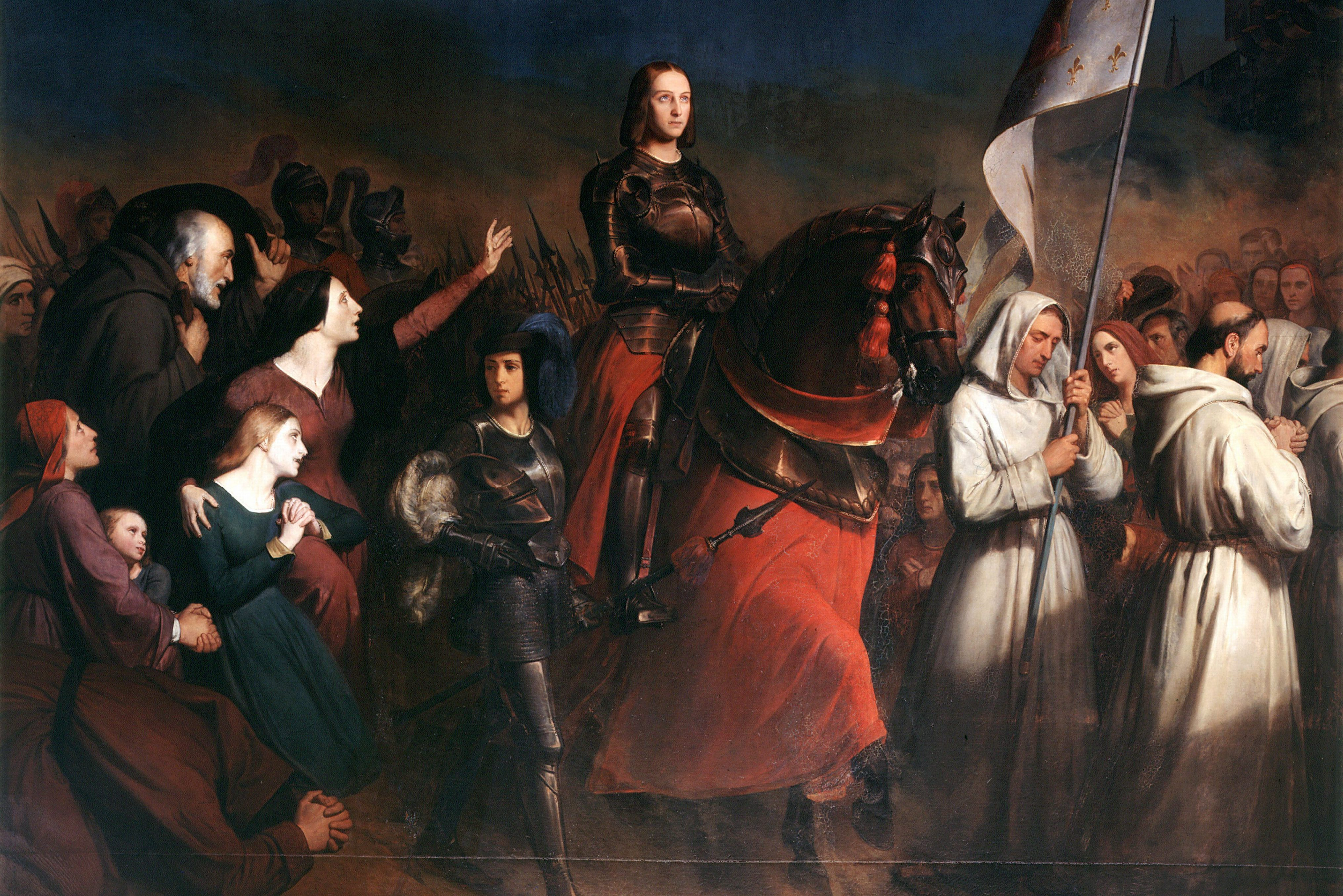 Mandatory Credit: Photo by Universal History Archive/UIG/Shutterstock (2548503a) 'Joan of Arc's entry into Orleans, Evening of the Liberation of the Town, 8 May 1429'. St Joan (c1412-1431) Maid of Orleans, French patriot and martyr, mounted and in full armour. Henry Sheffer (1798-1862) French. Painting. Oil on canvas. Versailles. History