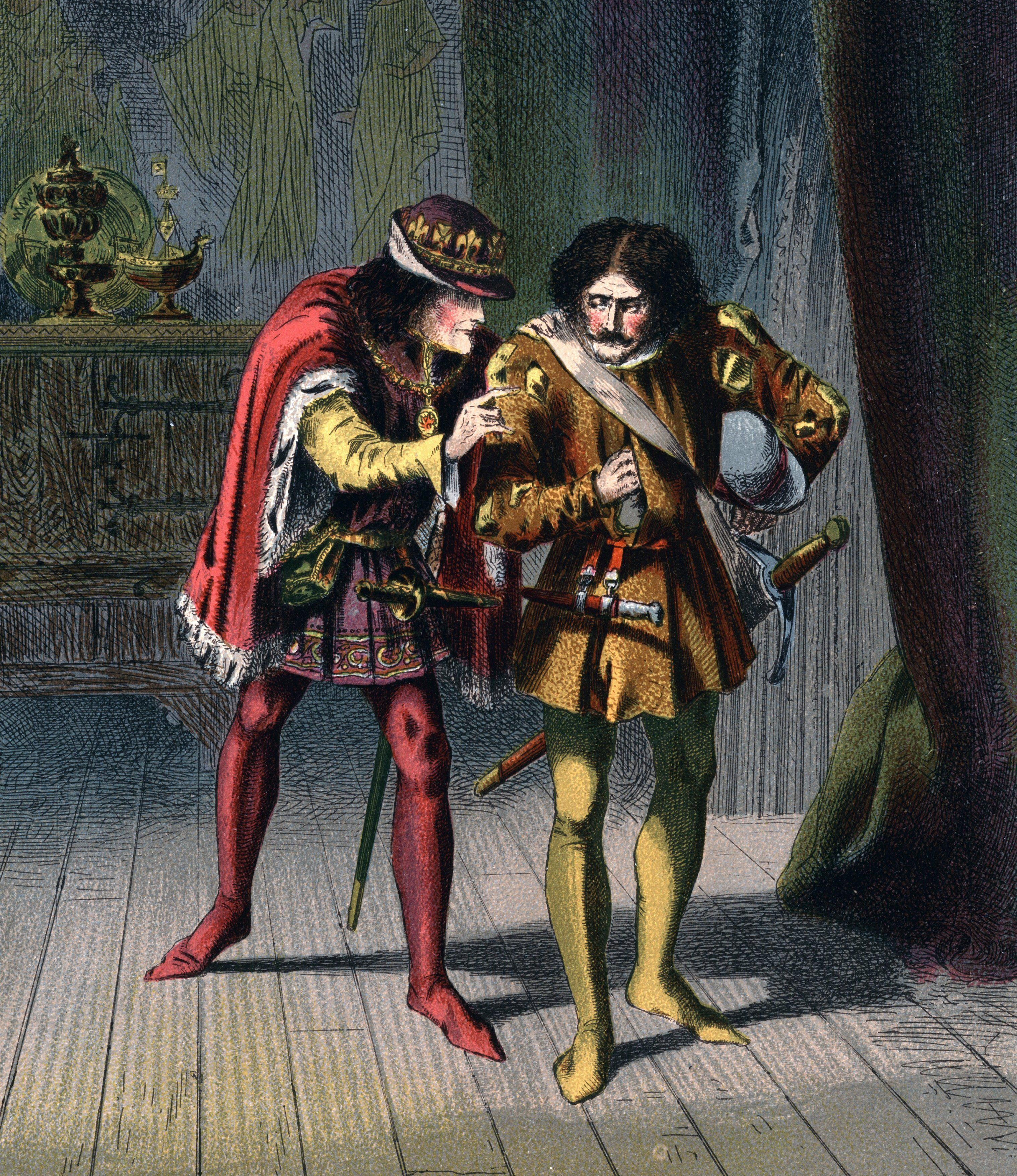 Mandatory Credit: Photo by Universal History Archive/UIG/Shutterstock (2549422a) Richard III (1452-1485) King of England from 1483, gives Sir James Tyrrell the order to kill the sons of Edward IV (Edward V and the Duke of York), the Princes in the Tower, with the inducement say it is done,/And I will love thee, and prefer thee too. Illustration by Robert Dudley for Shakespeare Richard III Act IV. Sc.II published c.1858. Chromolithograph History