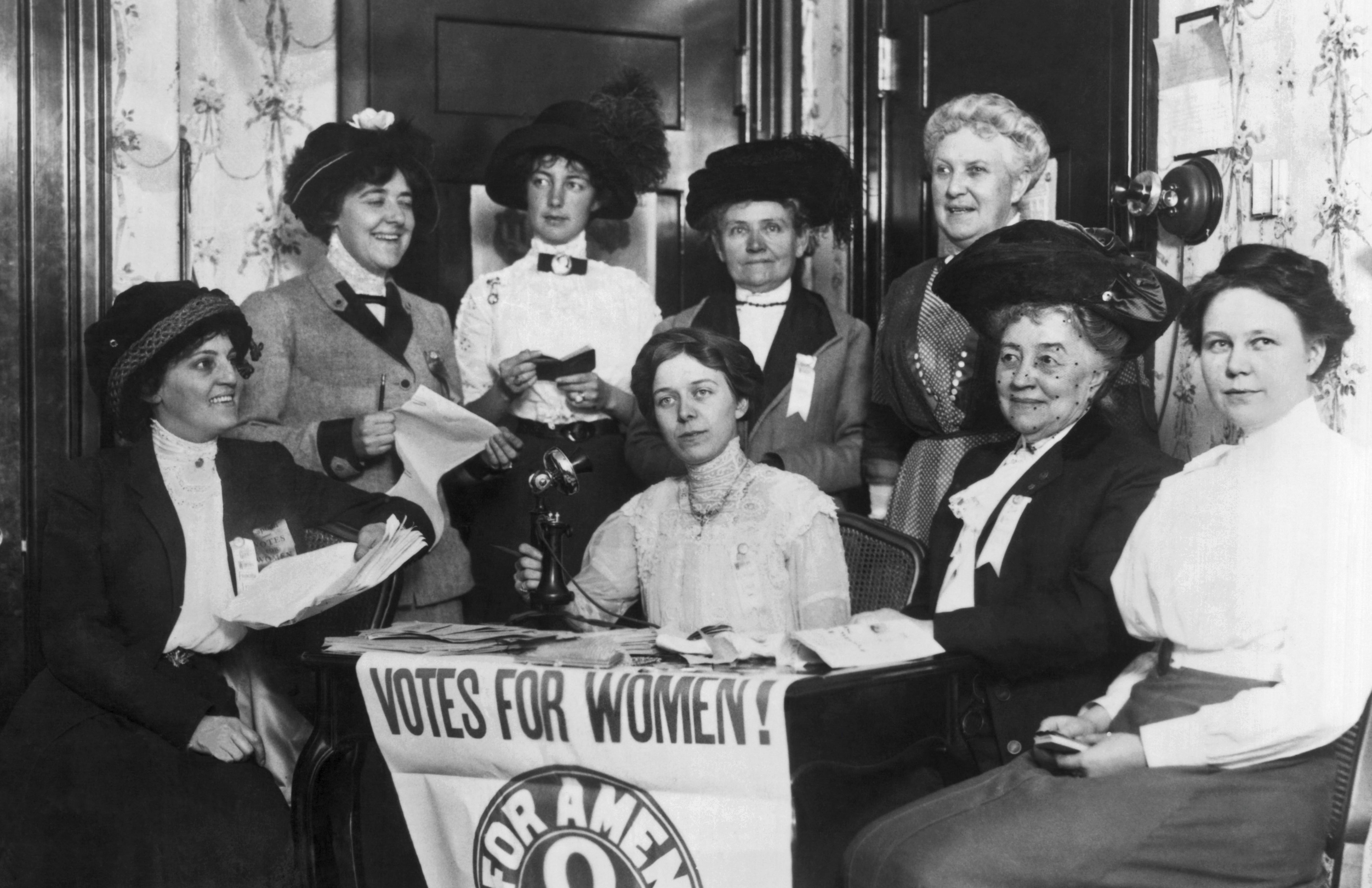 Mandatory Credit: Photo by Underwood Archives/UIG/Shutterstock (3838161a) San Francisco, California: c. 1920 San Francisco women join others in the country to secure the passage of the 19th Amendent which grants women the right to vote. VARIOUS