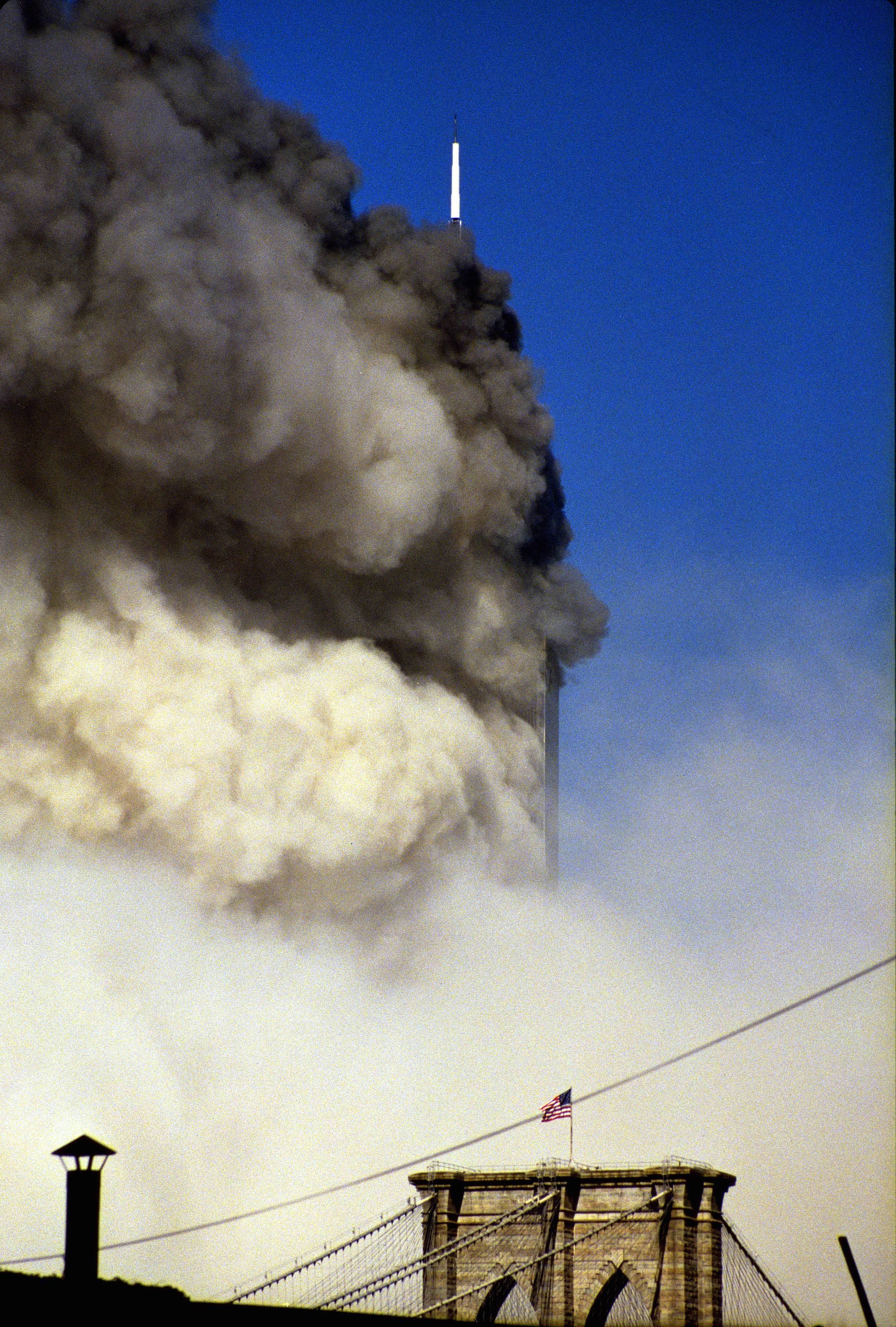Mandatory Credit: Photo by Jeff Pappas/Shutterstock (387448e) ONE OF THE BUILDINGS OF THE WORLD TRADE CENTER BURNS ON SEPTEMBER 11TH 2001 VARIOUS NEW YORK, AMERICA