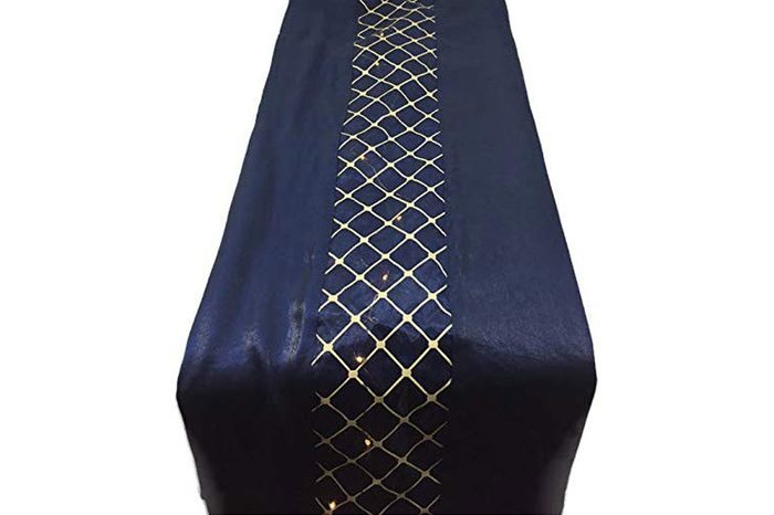 navy blue and gold table runner
