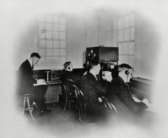 Mandatory Credit: Photo by AP/Shutterstock (5915079a) Pittsburgh radio station KDKA broadcasts ca. 1920. KDKA is credited with the first radio news report when it broadcast Associated Press election returns in 1920, as Warren G. Harding defeated James M. Cox for president. Radio stations did not become AP members until 1947 KDKA NEWS BROADCAST, PITTSBURGH, USA