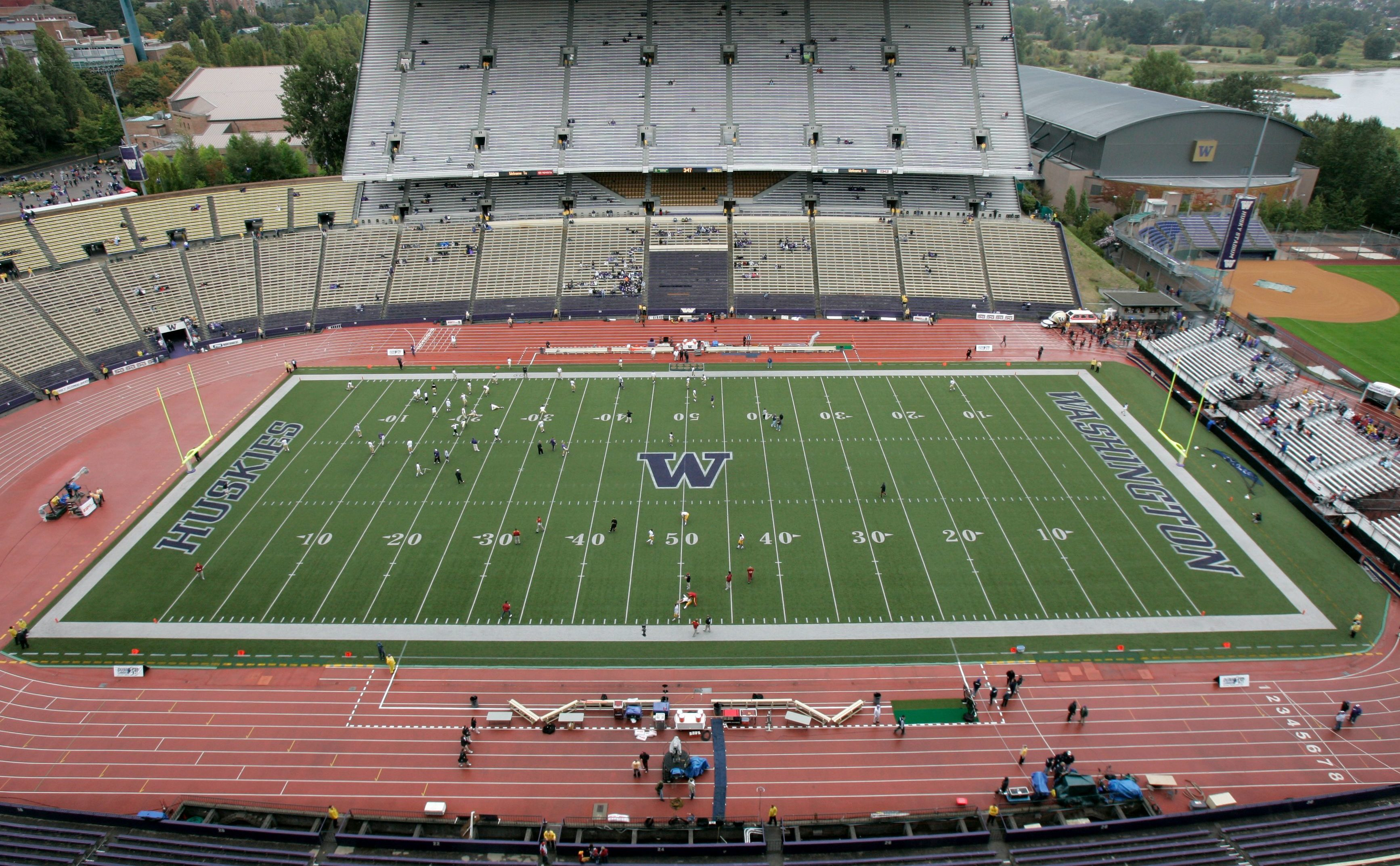 Mandatory Credit: Photo by Elaine Thompson/AP/Shutterstock (6374217e) A view of Husky Stadium before the start of a football game between USC and Washington State, in Seattle USC Washington Football, Seattle, USA