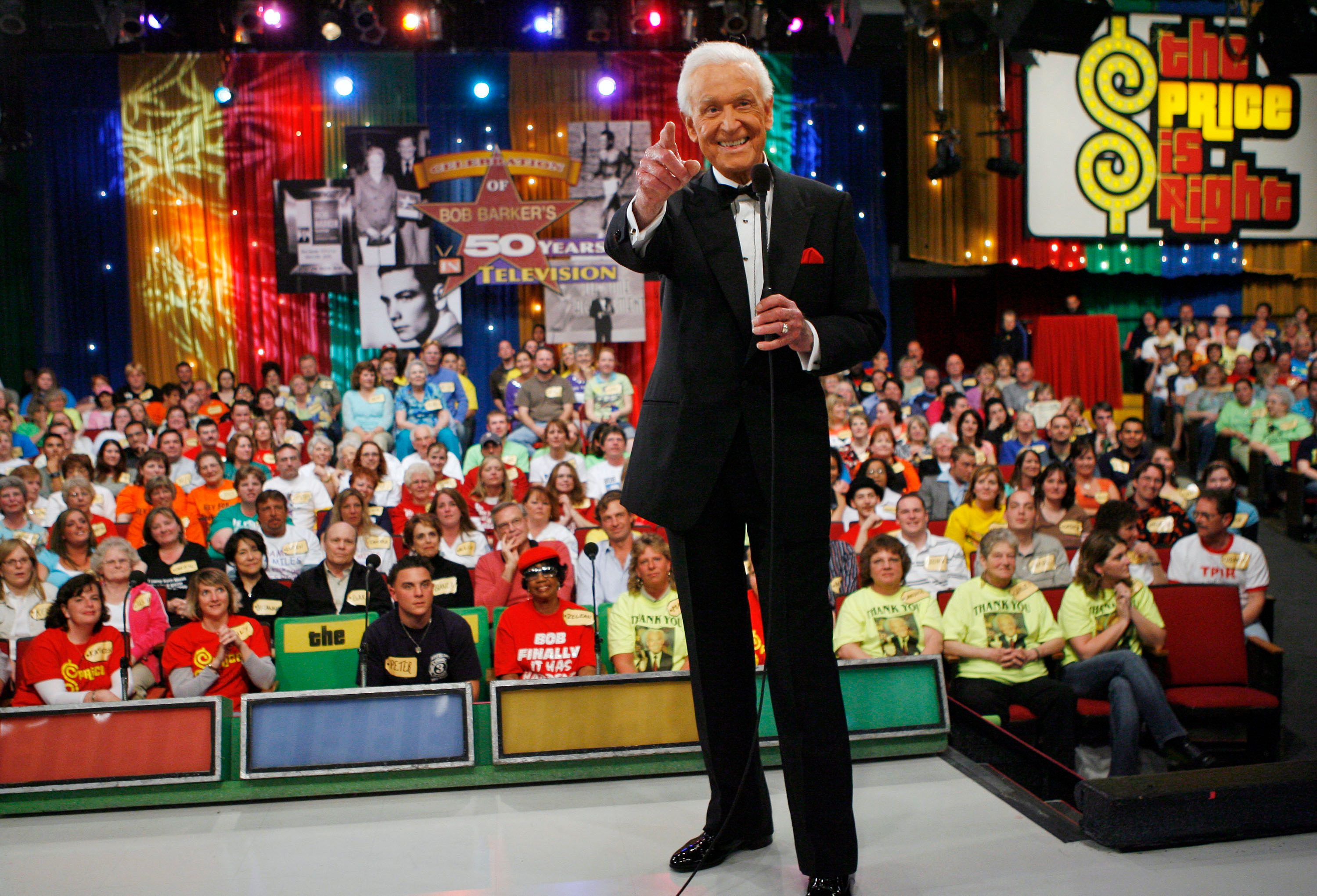 "Mandatory Credit: Photo by Kevork Djansezian/AP/Shutterstock (6376509a) Bob Barker Legendary game show host Bob Barker points during filming of a special prime-time episode of ""The Price Is Right,"" in Los Angeles . This episode of the popular game show, ""A Tribute Special,"" pays tribute to Barkers extraordinary career and upcoming retirement from ""The Price Is Right Bob Barker Tribute, Los Angeles, USA"