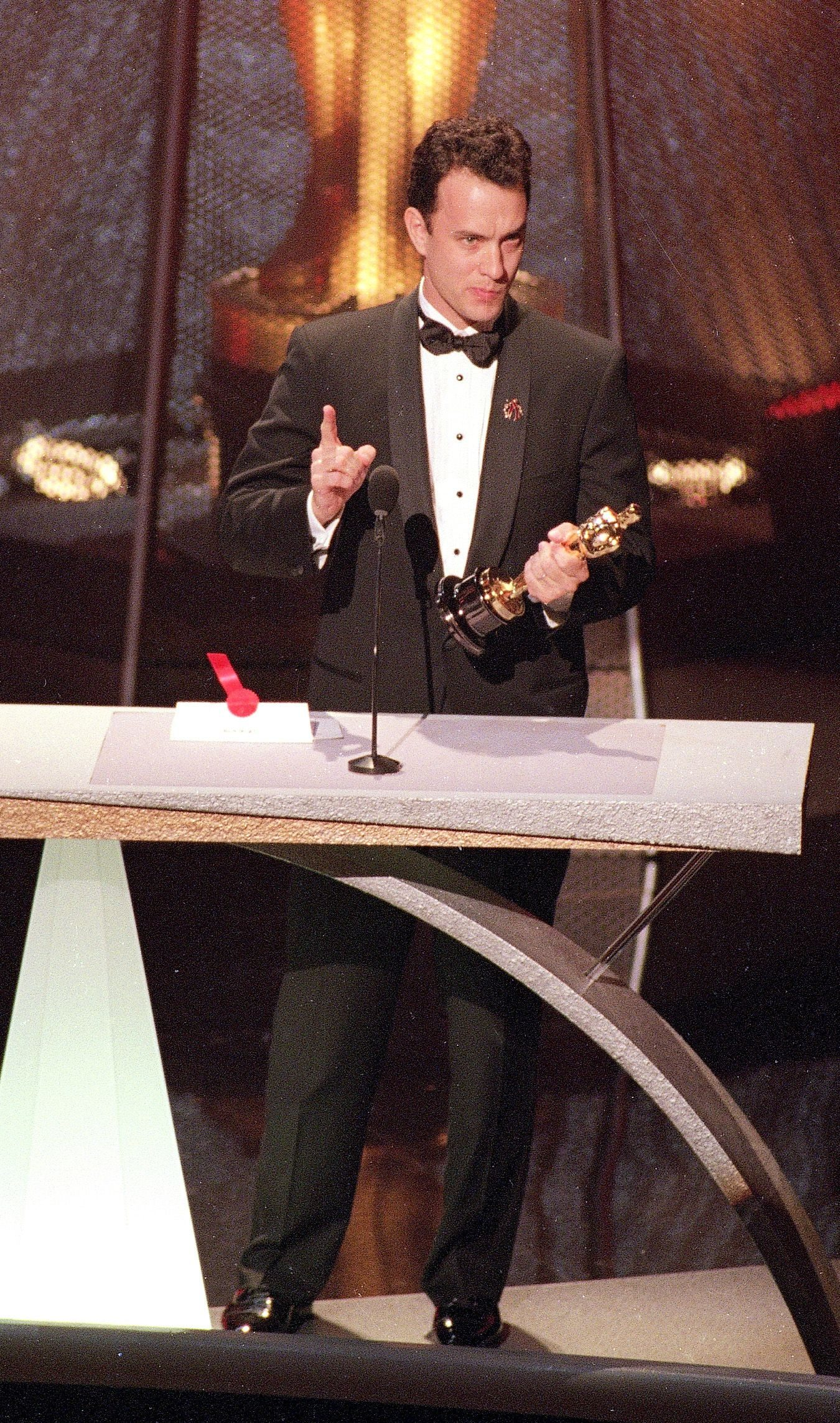 "Mandatory Credit: Photo by Reed Saxon/AP/Shutterstock (6554201a) HANKS Best Actor winner Tom Hanks gives an emotional speech at the 66th Annual Academy Awards in Los Angeles on . Hanks won for his role in the movie ""Philadelphia HANKS OSCARS, LOS ANGELES, USA"