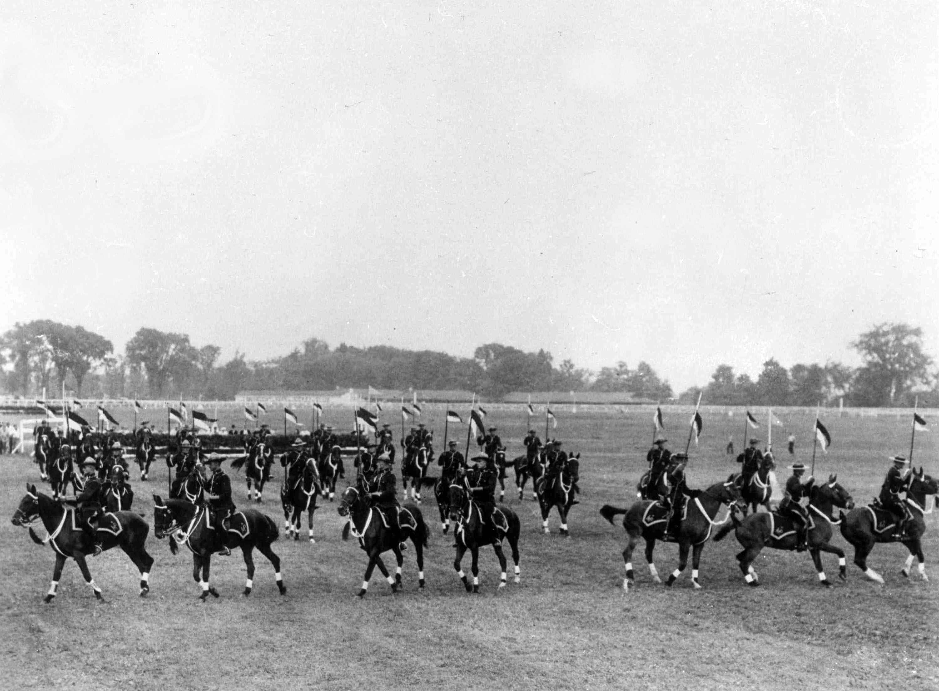 """Mandatory Credit: Photo by AP/Shutterstock (7393922a) Members of the Royal Canadian Mounted Police perform """"The Musical Ride"""" in Connaught Park, Quebec Canada Mounted Police Display, Quebec, Canada"""