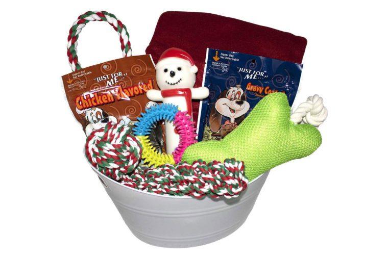 woofer dog christmas toy basket