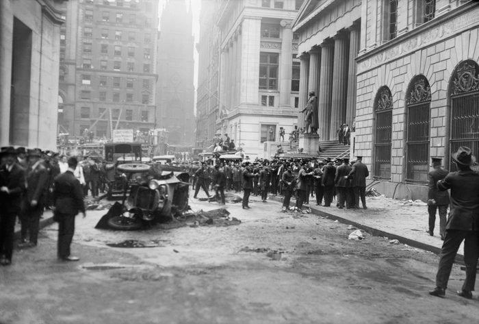 Mandatory Credit: Photo by Glasshouse Images/Shutterstock (8607703a) Damage from Terrorist Bomb Explosion, Wall Street, New York City, New York, USA, Bain News Service, September 16, 1920 VARIOUS
