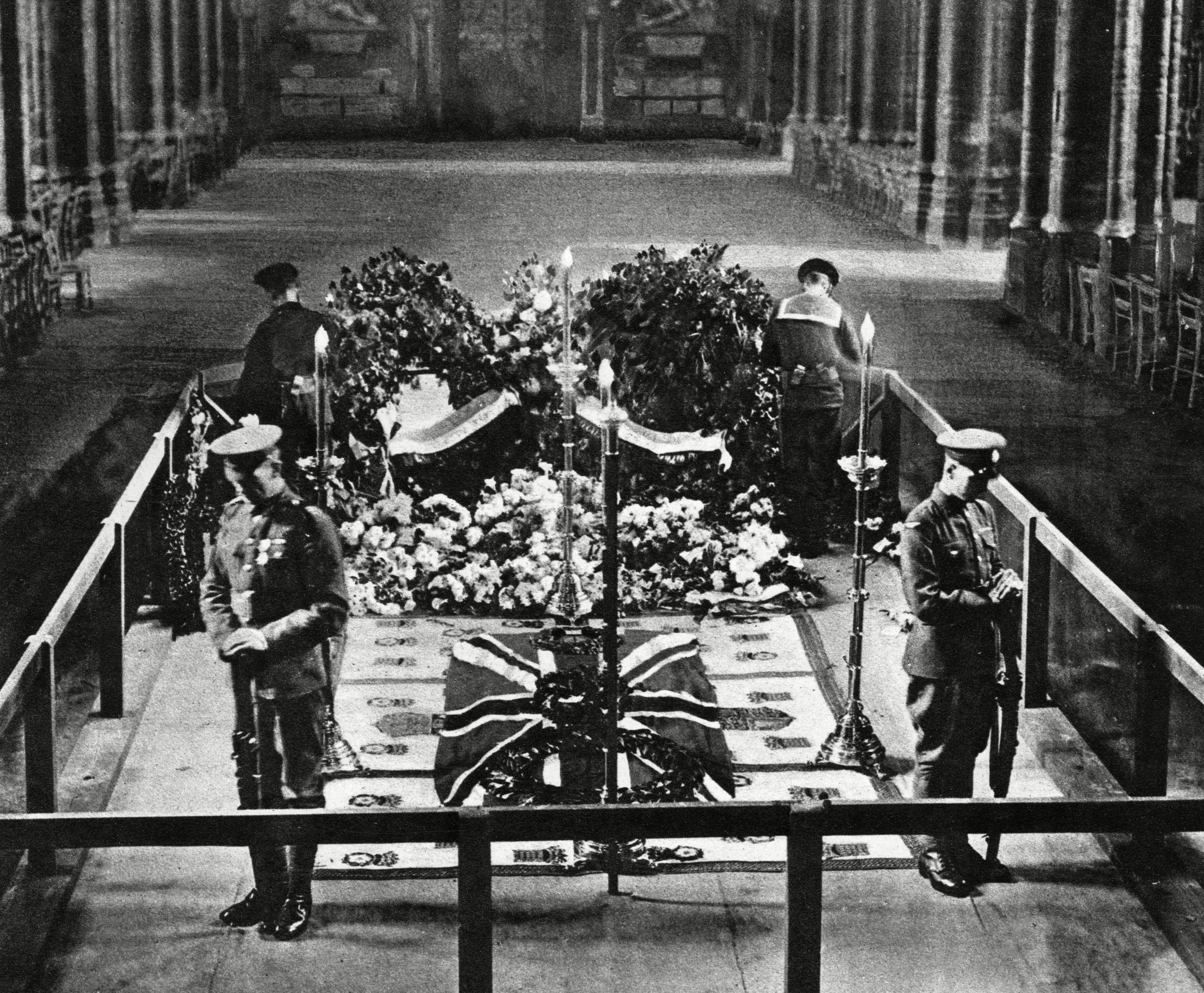Mandatory Credit: Photo by Historia/Shutterstock (9823008a) Four Sentries Stand with Heads Bowed at the Grave of the Unknown Soldier Following the Ceremony in Westminster Abbey On Armistice Day 11 November 1920. Photograph in the Illustrated London News, 20 November 1920 Tomb of the Unknown Warrior, 1920