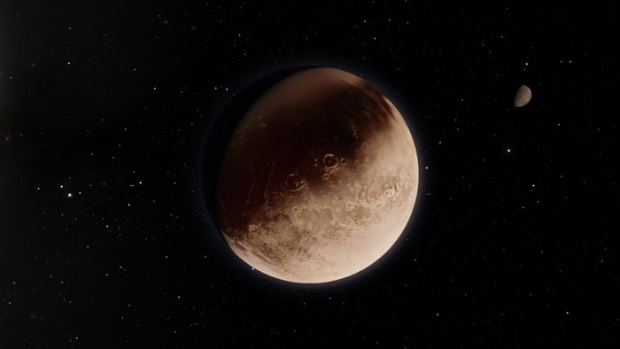 Exoplanet 3D illustrationdwarf planet Pluto isolated on black background (Elements of this image furnished by NASA)