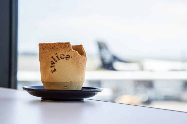air new zealand edible coffee cups