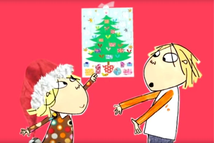 Charlie and Lola point to an advent calendar on the wall in Charlie and Lola: How Many More Minutes Until Christmas?