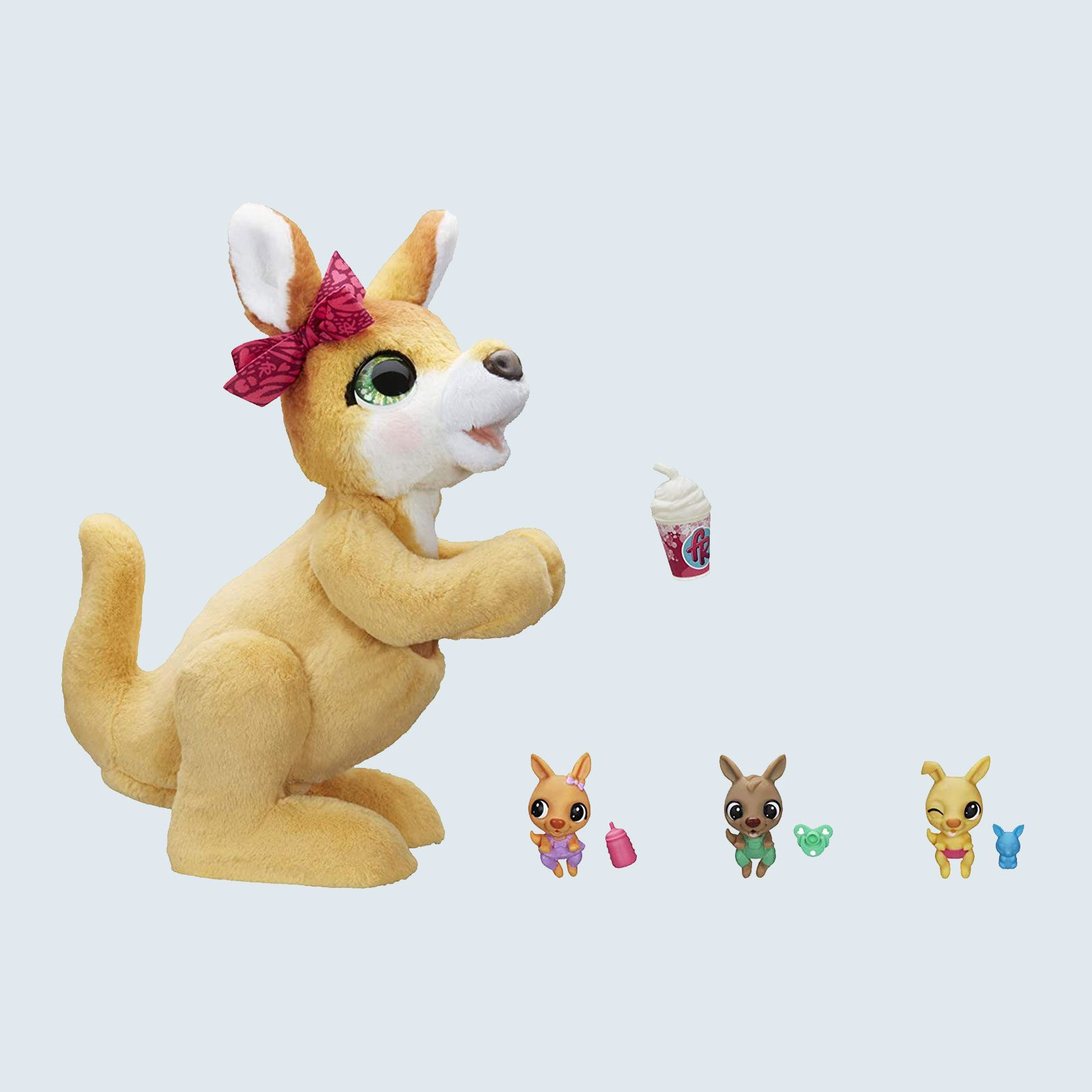 Stuffed kangaroo with small animals to fit in pouch