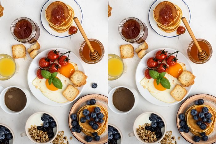 Find The Differences overhead breakfast scene