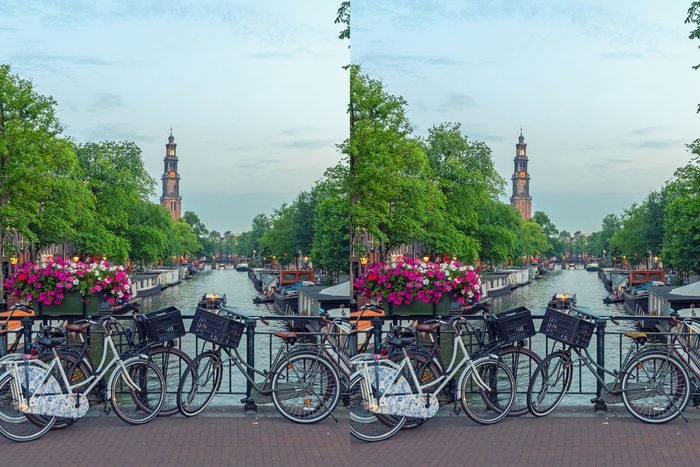 Find The Differences amsterdam scene bridge with bikes and boats
