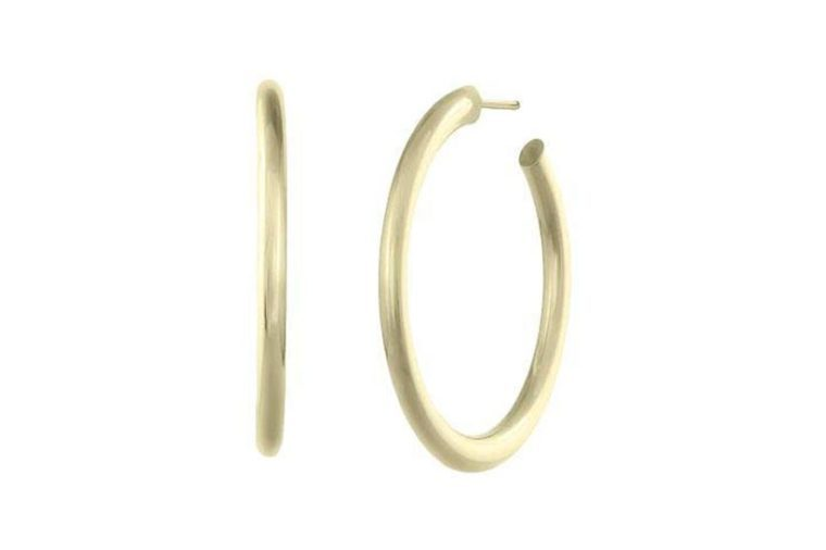 gold hoops on white background