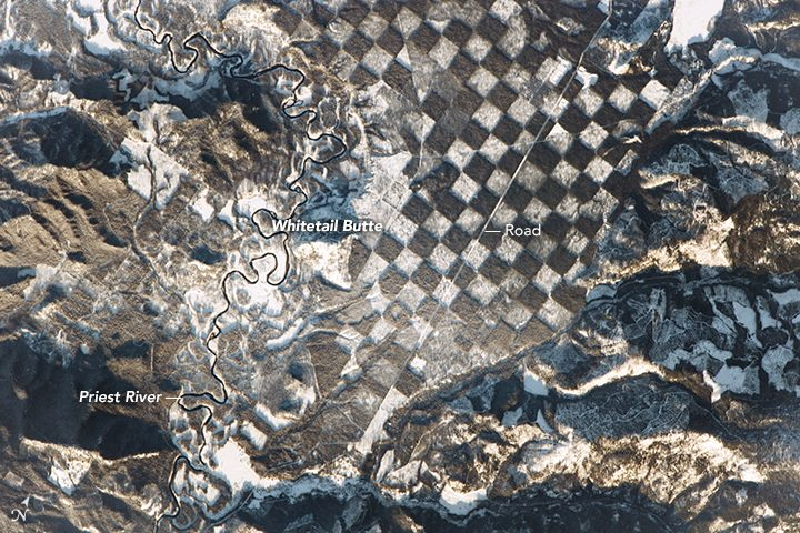 checkerboard pattern northern idaho from space