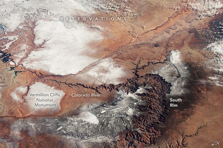 grand canyon under snow from space nasa