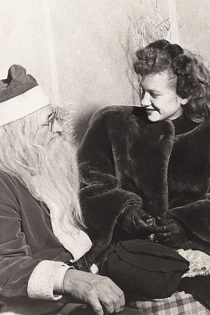 vintage christmas photo santa girl lap