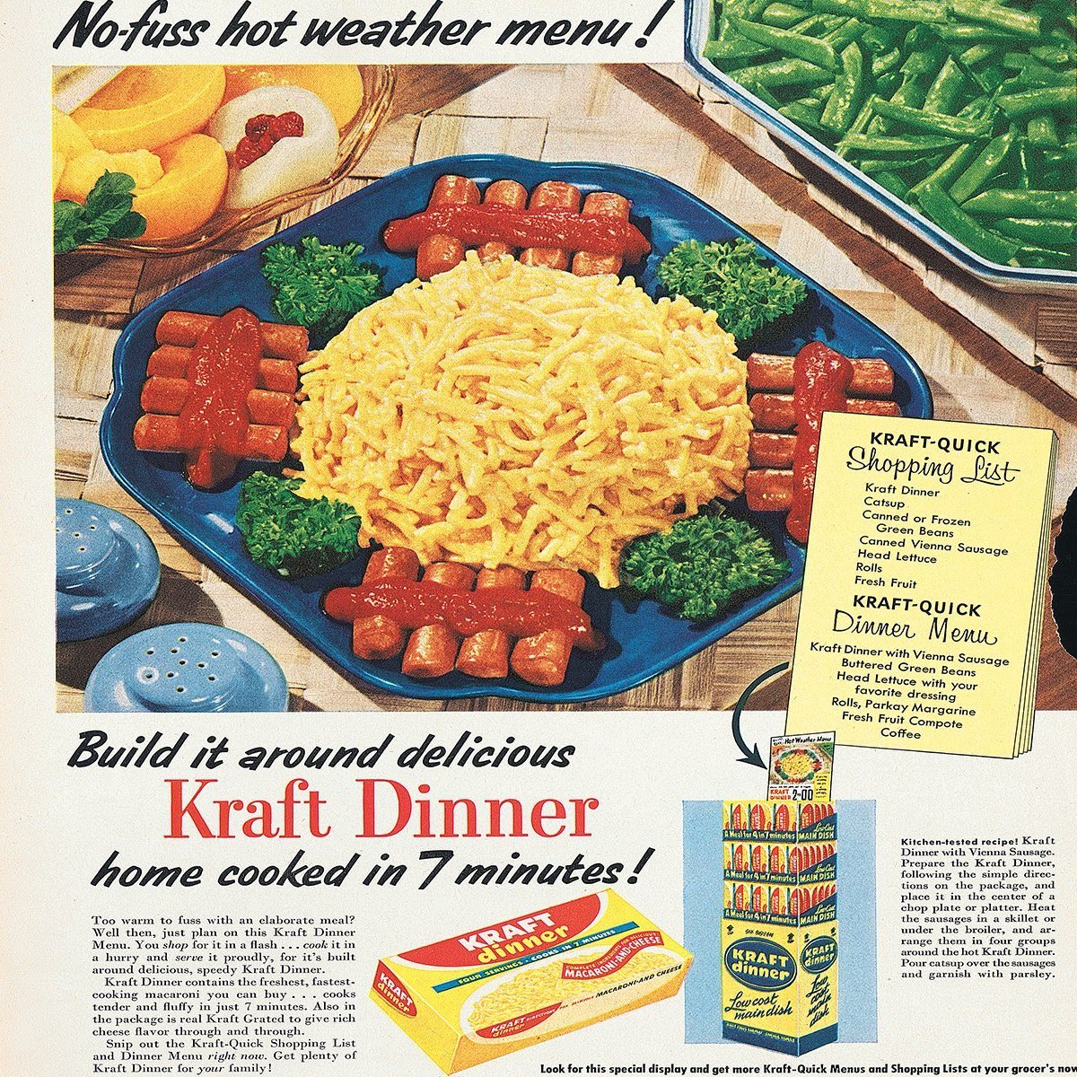 vintage ad for kraft macaroni and cheese dinner