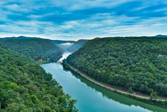West Virginia's New River Gorge is viewed from the Hawks Nest overlook near the town of Anstead.