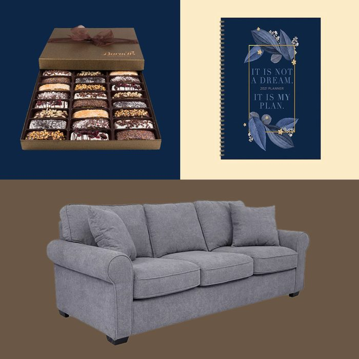 Couch, journal, and biscottis