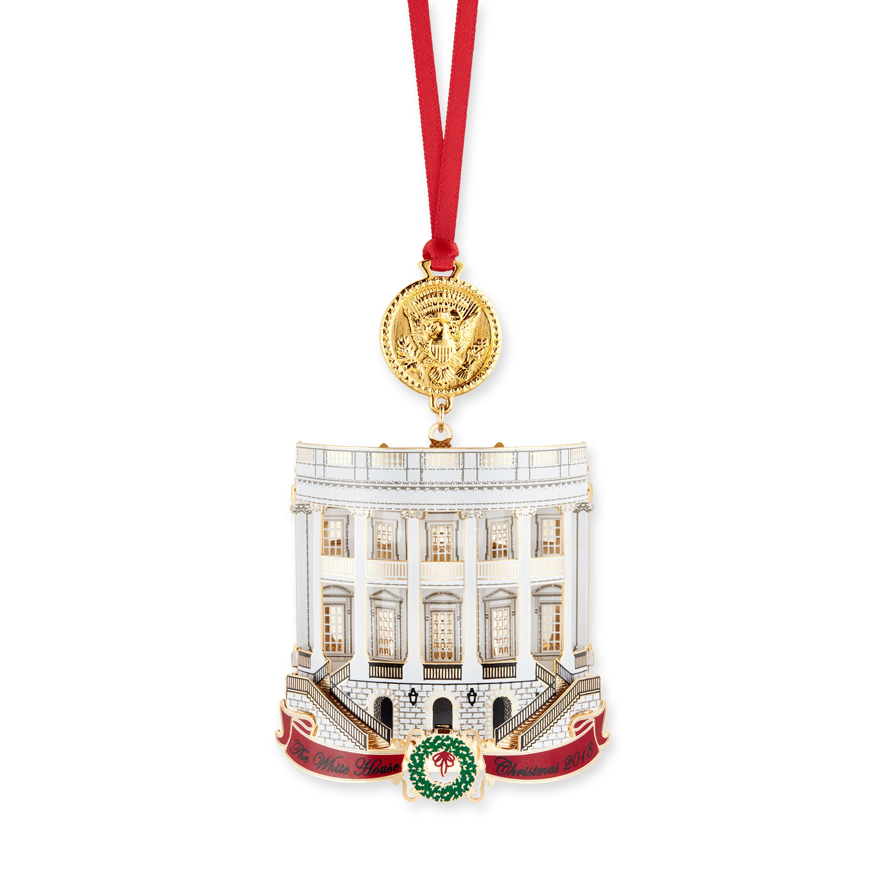 The White House Historical Association's 2018 White House Christmas Ornament honors the 33rd president, Harry S. Truman. The ornament illustrates significant changes made to the White House during Truman's administration, including his celebrated Truman Balcony, added in 1947–48 to the South Portico. The reverse side features his renovated Blue Room, which, like all the rooms of the house, was dismantled and rebuilt during the renovation of 1948–52. The Presidential Seal featured at the top of the ornament reflects the design as changed by Truman. Originally the American eagle looked toward its left talons, which hold a cluster of spears, weapons of war. Truman had the seal redesigned, turning the eagle's head away from the spears to its right talons, which hold the olive branches of peace.
