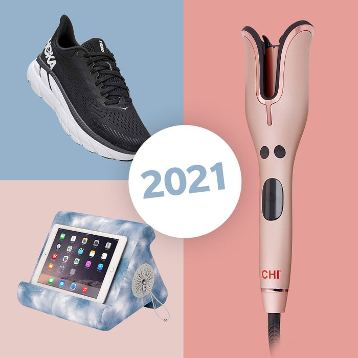 iPad stand, hair curler, and running shoe
