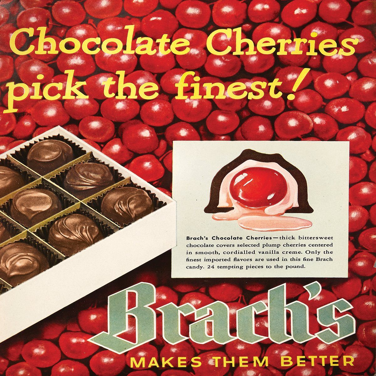 vintage ad for brachs chocolate cherries