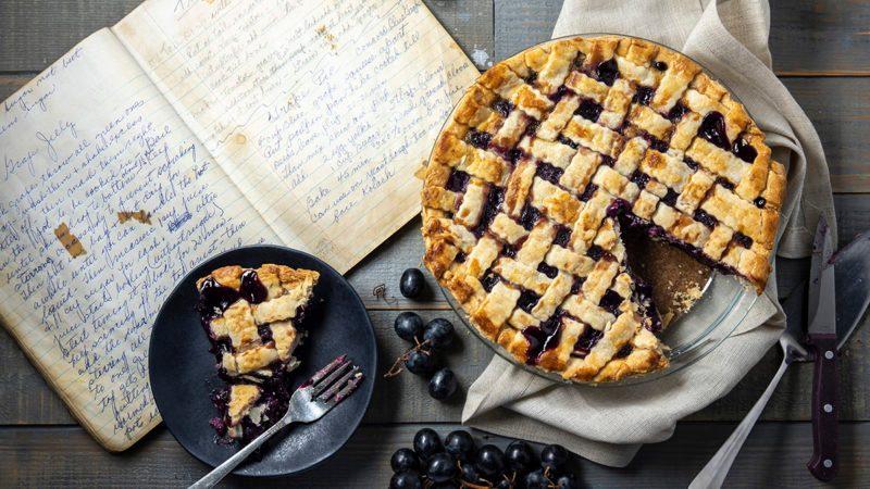 grape pie, grapes, pie, fall, recipe book