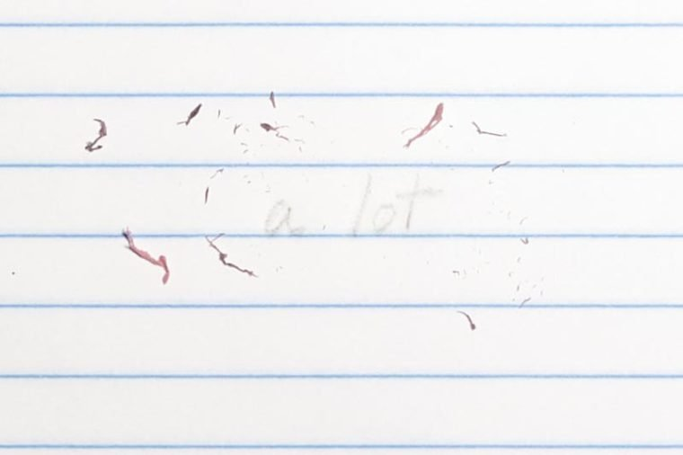 "erased text ""a lot"" with eraser shavings on loose leaf paper"