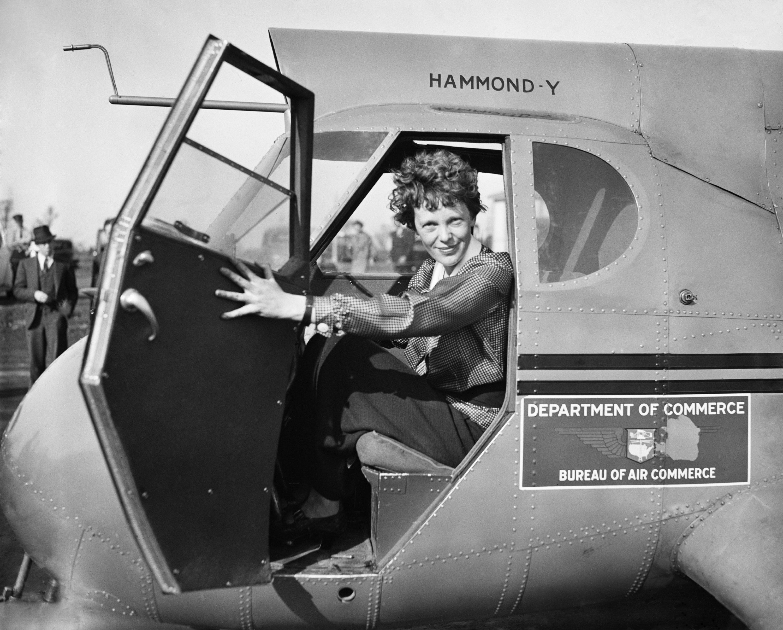 Amelia Earhart in Department of Commerce airplane, 1936.