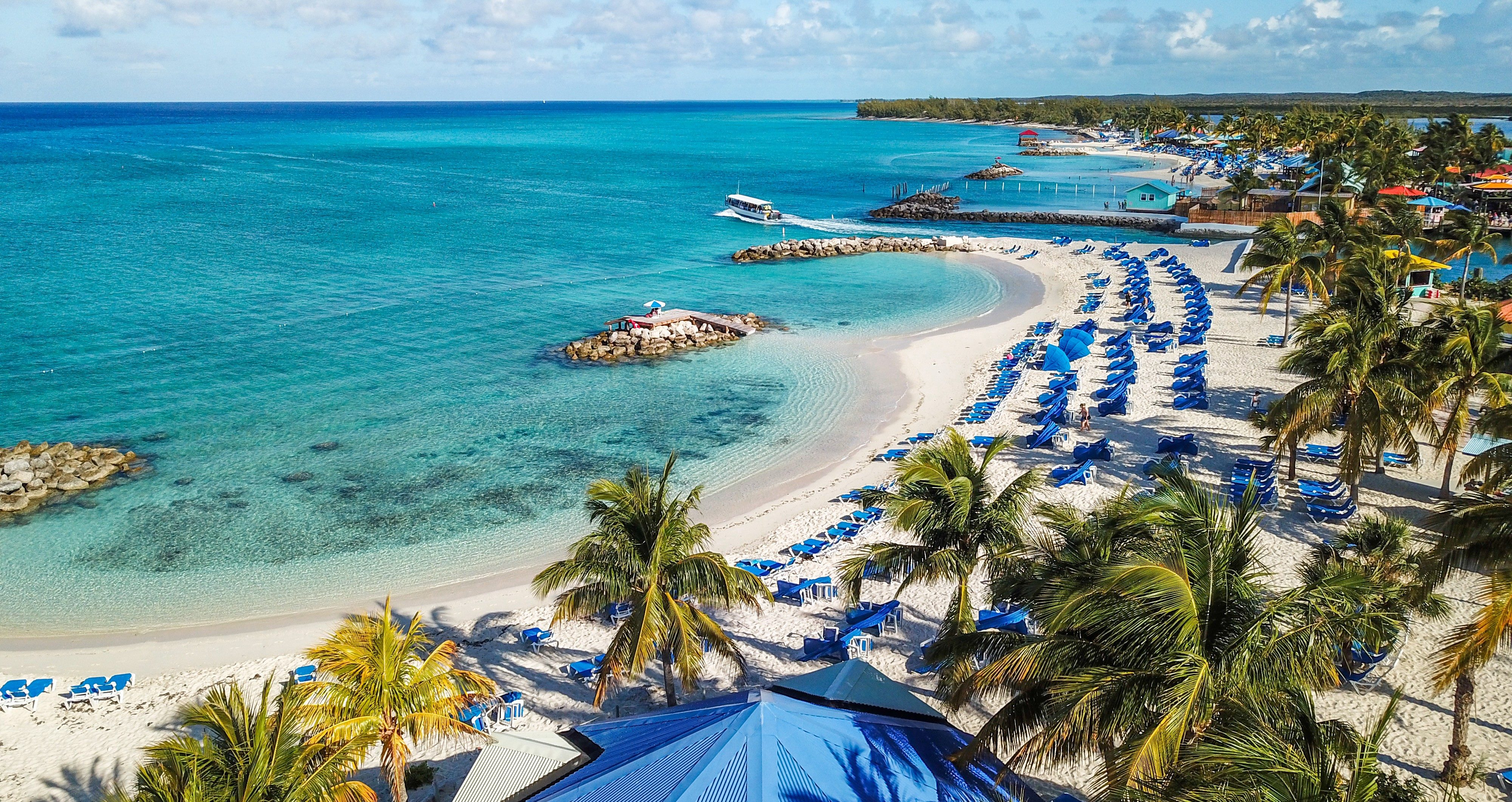 Beautiful drone shoot of idyllic tropical beach of Princess Cays Island in Bahamas