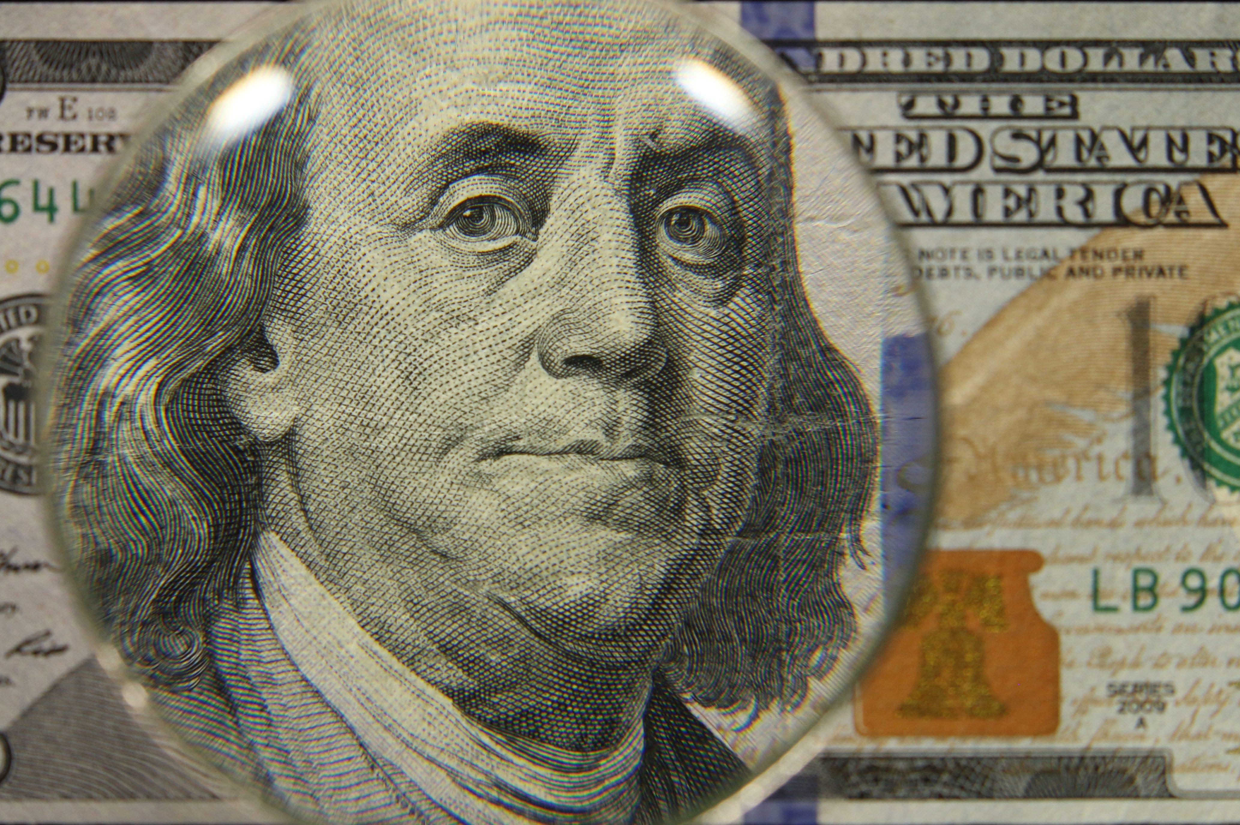 US 100 Obverse Art, Front Lit, Black Background, Magnified, Federal Reserve Note,