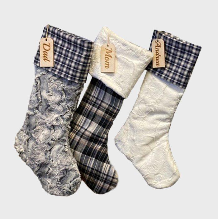Blue Plaid Christmas Stockings Via Etsy