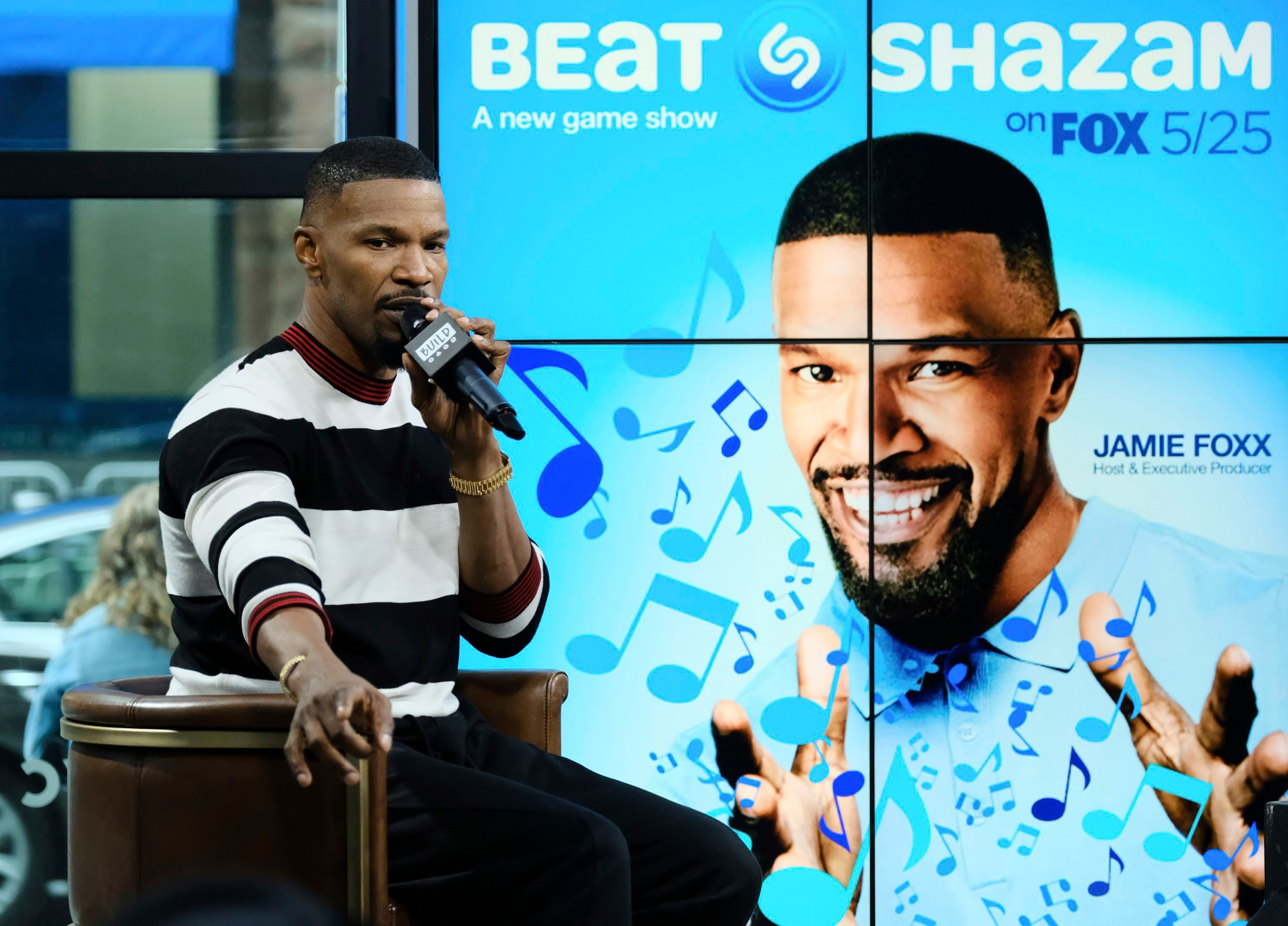 "Mandatory Credit: Photo by Invision/AP/Shutterstock (9242453r) Actor Jamie Foxx participates in the BUILD Speaker Series at AOL Studios to discuss the game show, ""Beat Shazam"",, in New York BUILD Speaker Series: Jamie Foxx, New York, USA - 23 May 2017"