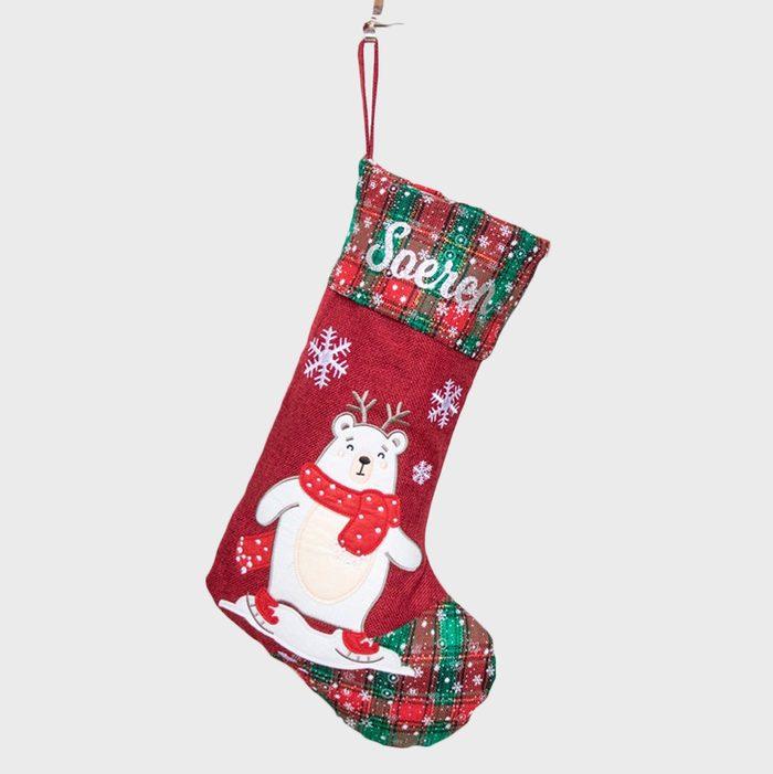 Burlap Red Christmas Stockings Via Etsy