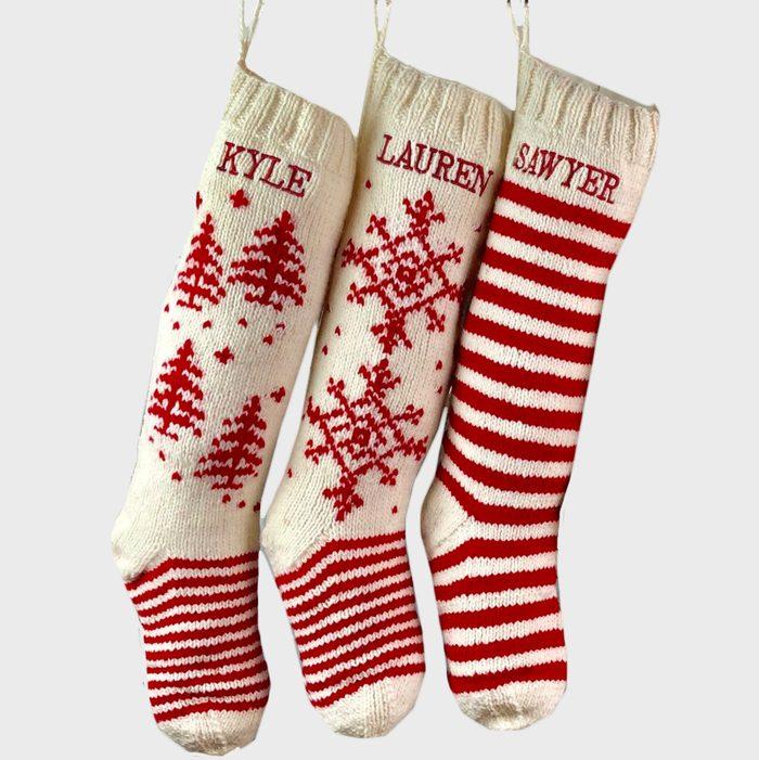 Classic Knit Christmas Stockings Via Etsy